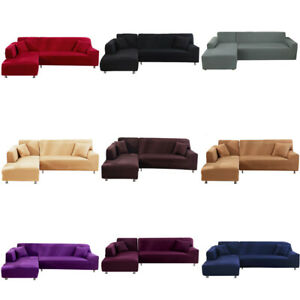 1 2 3 4 Seater L Shape Stretch Sofa Covers Elastic Slipcover Corner Couch Cover