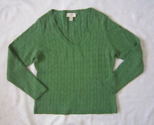 ANN TAYLOR LOFT Petites Cable Knit V-Neck Green Sweater ~ Size Large P ~ NWOT