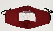 Deaf friendly face mask, cotton with clear panel to allow for lip reading - RED