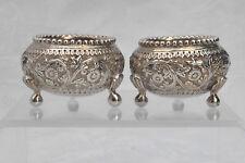 Pair Antique 19c Indian Colonial / Raj Silver Salts Lucknow Cutch Style c1890