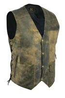 Vintage Motorcycle Vest 10 pocket Distressed Real Leather Waistcoat Mens