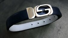 Vintage 70s Gucci Reversible Black/Ivory White Leather Belt GG Buckle-Small