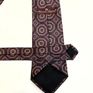 "✅💟✅$ Etienne Aigner Men's Neck Tie Black Burgundy Geometric 3.5"" x 57"" EUC"