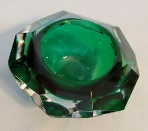 Murano Flavio Poli Sommerso Faceted Green and Clear Bowl Diamond Shape