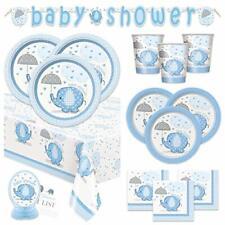 Boy Baby Shower Party Supplies Set - Blue Elephant Design Includes Plates,