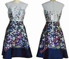 a7bffb6dc Ted Baker London Dark Blue Ayliah Enchantment Midi Flare Size 2 (US 6)  369