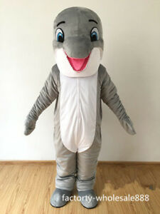 Hot Adult Gray Dolphin Mascot Costume Party Outfit Professional Game Fancy Dress