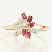 Ruby & Diamond Cluster Ring - 14k Gold Marquise Millgrain .53ctw