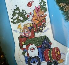 "18"" Bucilla ""Christmas Express"" Stocking Kit 83054 Cross Stitch Santas Toy Train"