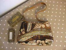 Bueno womens brown shoulder handbag with glasses+phone case multi Summer Ladies