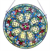 "BAROQUE JEWELS *  VICTORIAN GREEN BLUE 24"" ROUND STAINED GLASS WINDOW PANEL"
