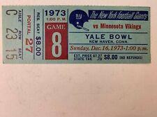 1973 NY Giants vs Minnesota Vikings NFL Football Ticket Stub Yale Bowl EXCELLENT