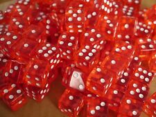 Red ACRYLIC DICE 16mm (50 PACK) Transparent RPG Gaming Home Casino Dice d6