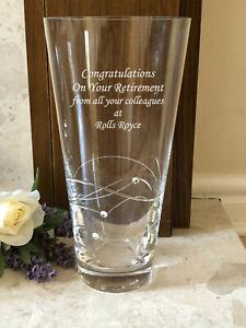 Personalised Engraved Large 25cm Diamante Crystal Vase Retirement Gift