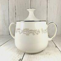 Noritake Ivory Fine China Sugar Bowl White On White Platinum 7540 Vintage