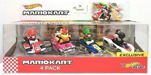 Hot Wheels 4 Pack Mario Kart Diecast Mario Bowser Luigi Black Yoshi Exclusive