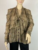 ZARA Animal Print Chiffon Retro Balloon Sleeve  Blouse Top Shirt  Size L