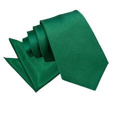 DQT Satin Plain Solid Emerald Green Mens Classic Tie & Hanky Wedding Set