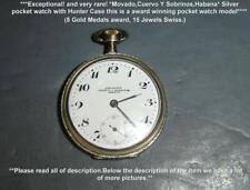 Antique RARE Silver Movado For Cuervo Y Sobrinos Habana Pocket Watch Hunter Case