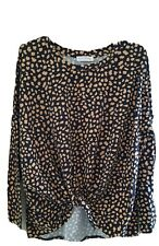 Betty Basics size 8 leopard print tie front long sleeve top