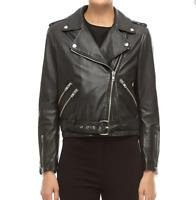 Walter Baker Allison Leather Long Sleeve Moto Jacket Black Size L NEW MSRP 698$