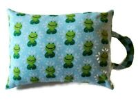 "Toddler Nap Or Travel Pillow Frog Design 12 X 16"" With Carrying Handle Washable"