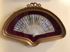 "Antique French Handpainted Fan , Circa 1900,signed ""C.Blondin� In Shadow Box"