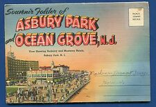 Asbury Park Ocean Grove New Jersey nj 1940s #1 souvenir postcard folder