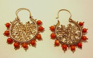 Handmade Unique handmade coral and Gold Earrings