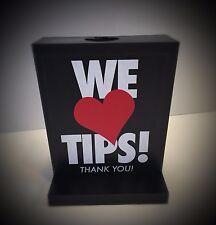 "Tip Box, Tip Jar,  Plastic, "" WE LOVE TIPS"" Imprinted , TIP RESTAURANT SERVERS"