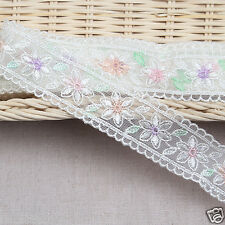 """3Yds Embroidery scalloped mesh net hand printing eyelet lace trim 1.2"""" YH na"""