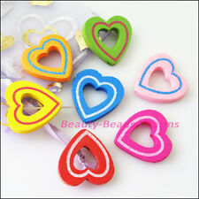 20Pcs Mixed Craft Wood Wooden Heart Circle Spacer Beads Frame Charms 28mm