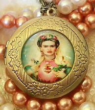 Frida Kahlo Locket, Round Pendant Necklace. Bronze Gold. Madonna. Boho