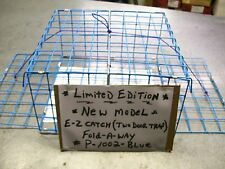 E-Z Catch Brand New Fold-A-Way Premium Quality Blue Two Door Crab Trap USA Made