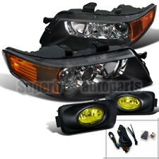 2004-2005 Acura TSX Sedan 4D Projector Headlights Black+Bumper Fog Lights Yellow