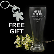 Personalised Engraved Schooner Beer Glass 425ml, 18th, 21st, 30th, 40th Birthday