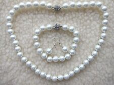 White Akoya Shell Pearl Beaded Necklace Set 10 mm - NEW