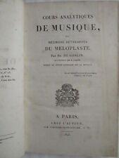 GESLIN : COURS ANALYTIQUES DE MUSIQUE OU MELOPLASTE, 1825. 84 planches, rare.