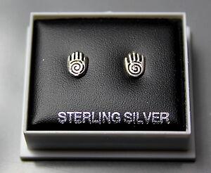 STERLING SILVER 925, STUD EARRINGS,  HAMSA HAND OF PROTECTION,  STUD 204