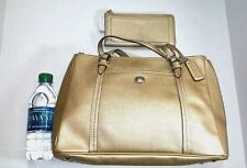 NWT Coach 25669 Peyton Leather Carryall + Matching Wallet 50439 GoldSet $428+158