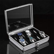 Aluminium Square Jewelry 12 Grid Slots Watches Display Storage Box Case FE