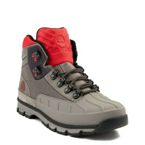 Brand NEW Mens Timberland Euro Hiker Shell-Toe Jacquard Athletic Boots Gray Red