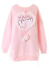 TS-150 Pastel Rosa Katze Cat Rüschen Bommeln Goth Lolita Pullover Sweatshirt