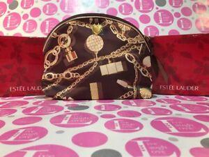 ESTEE LAUDER Gold Brown Cosmetic Make-up Bag, Charm Bracelets Chain patterned