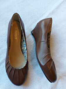 Pavers Ladies Brown Wedge Heel Court Shoes Size 7/40