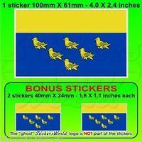 "WEST SUSSEX County Flag England UK Vinyl Decal Sticker,  4"" (100mm) x1+2 BONUS"