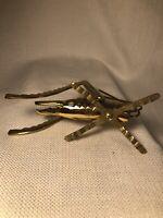 "Vintage Solid Brass Grasshopper Cricket Paperweight Figurine 5 1/2 In"" Long"