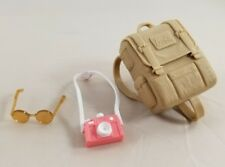 New Pink Passport Barbie Doll Accessories Backpack Camera Sunglasses