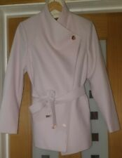 New Ted Baker  Elika Pink Contrast Lapel Short Wrap Coat Size 3 UK 12