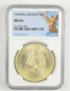 1948 MEXICO 5 Pesos Silver NGC MS66 *978